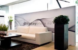 FF0107 lábon álló térelválasztó, háttérfal és kiállítási fal feszített textilkerettel